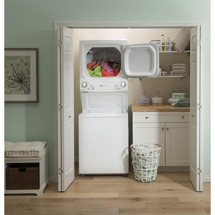 GE GUD27EEMNWW Unitized Spacemaker Washer and Electric Dryer In White