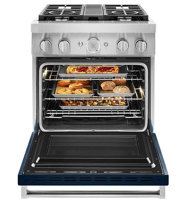 KitchenAid KFDC500JIB 30'' Smart Commercial-Style Dual Fuel Range with 4 Burners in Ink Blue