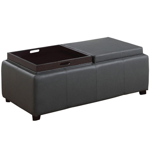 Worldwide 402-185GY Manhattan II Double Tray Ottoman in Grey (Each)