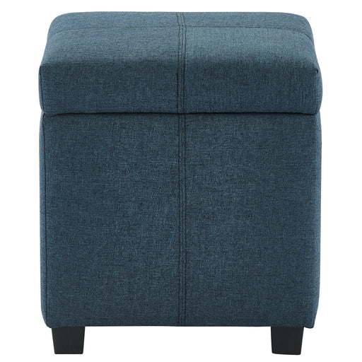 Worldwide Juno 402-350GBL Square Storage Ottoman In Grey-Blue