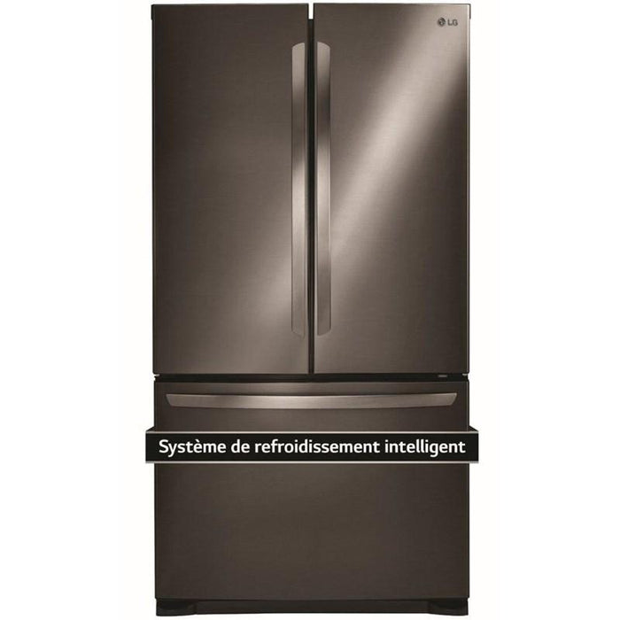 LG LFNS22520D 30-Inch 22 Cu. Ft. French Door Refrigerator with Smart Cooling System in Black Stainless Steel