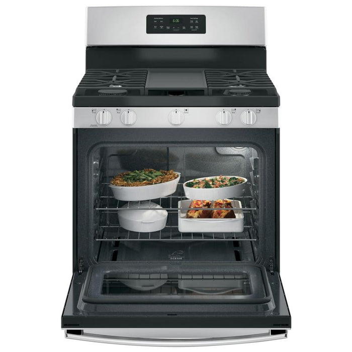 "GE JCGBS66SEKSS 30"" Free-Standing Steam Clean Gas Range in Stainless Steel - Range - GE - Topchoice Electronics"