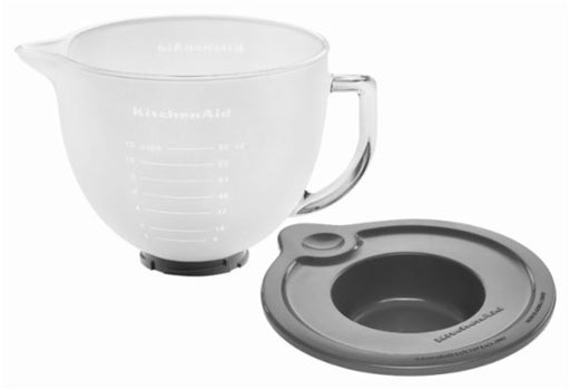 KitchenAid K5GBF 5-Qt. Tilt-Head Frosted Glass Bowl with Measurement Markings & Lid
