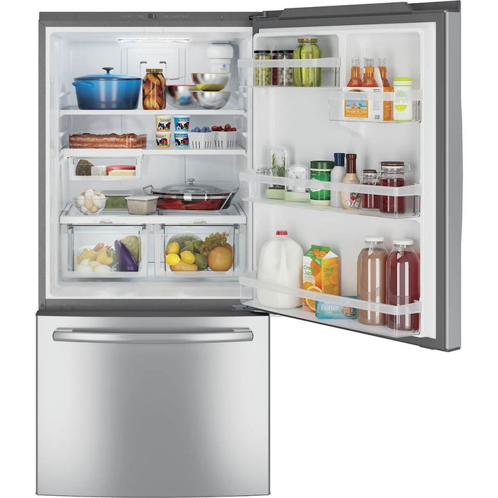 GE GDE25ESKSS 24.9 CU. FT. BOTTOM-FREEZER REFRIGERATOR - Stainless steel - Refrigerator - GE - Topchoice Electronics