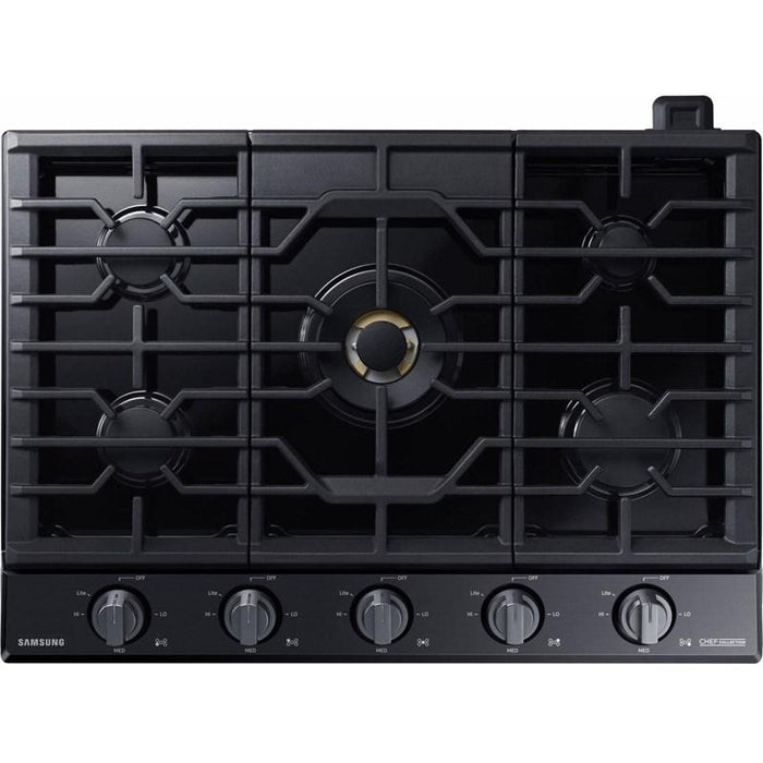 "Samsung NA36N9755TM/AA 36"" Chef Collection Gas Cooktop with 22K BTU Dual Power Burner in Matte Black Stainless Steel"