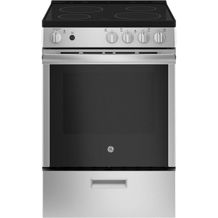 GE JCAS640RMSS 24-Inch 2.9 Cube Feet Slide-In Electric Steam Clean Range In Stainless Steel