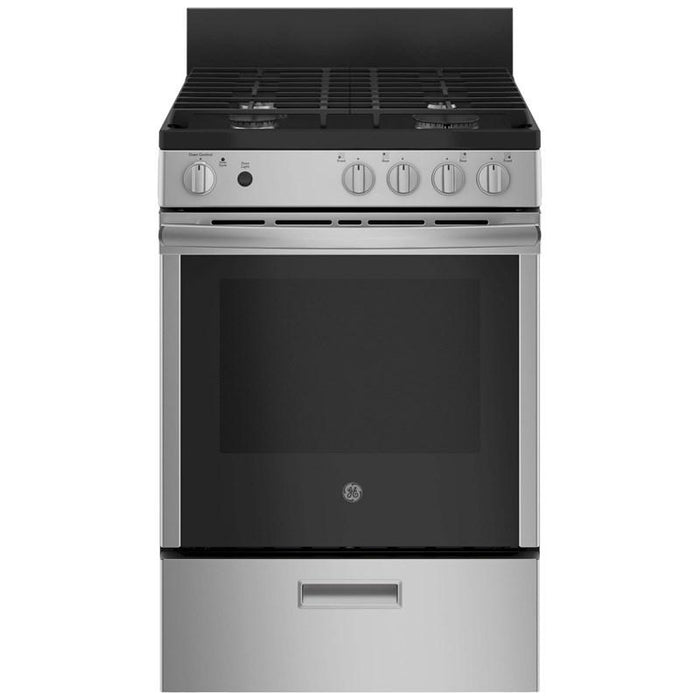 GE JCGAS640RMSS 24-Inch 2.9 Cube Feet Slide-In Gas Range With Steam Clean In Stainless Steel