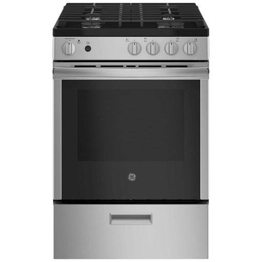 GE Cafe JCGAS640RMSS 24-Inch 2.9 Cube Feet Slide-In Gas Range With Steam Clean In Stainless Steel