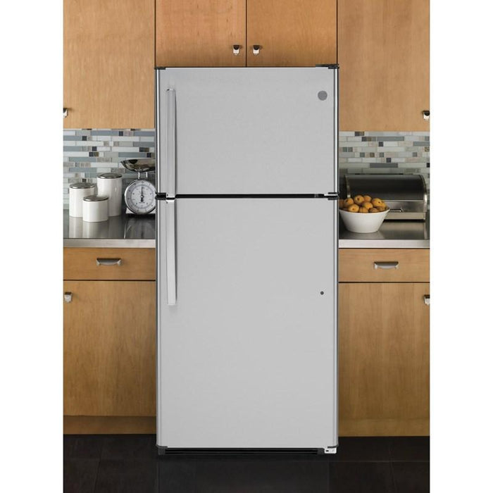 GE GTS18FSLKSS Energy Star 18.2 Cube Feet Top Freezer Refrigerator In Stainless Steel