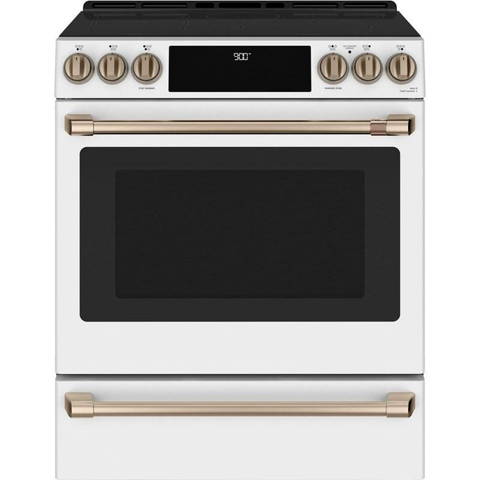 GE Cafe CCHS900P4MW2 30'' Slide-In Front Control Induction and Convection Range with Warming Drawer in Matte White