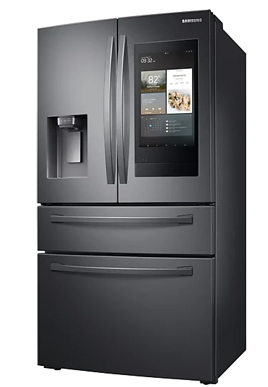 "Samsung RF28R7551SG/AC 28 cu. ft. 4-Door French Door Refrigerator with 21.5"" Touch Screen Family Hub in Black Stainless Steel"