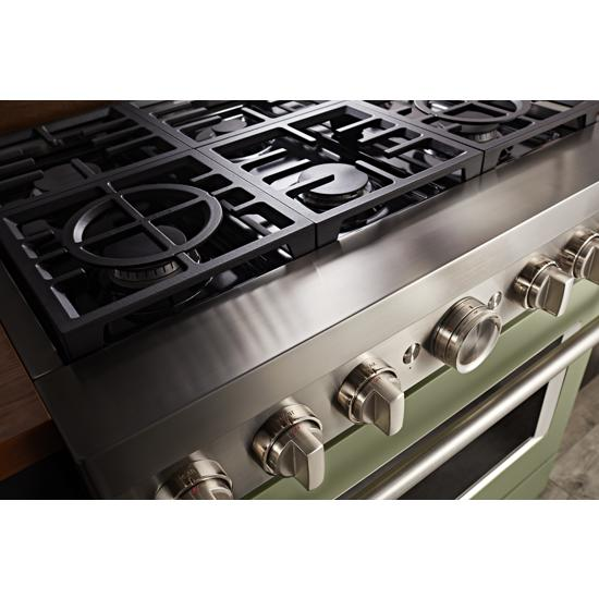 KitchenAid KFDC506JAV 36'' Smart Commercial-Style Dual Fuel Range with 6 Burners in Matte Avocado Cream
