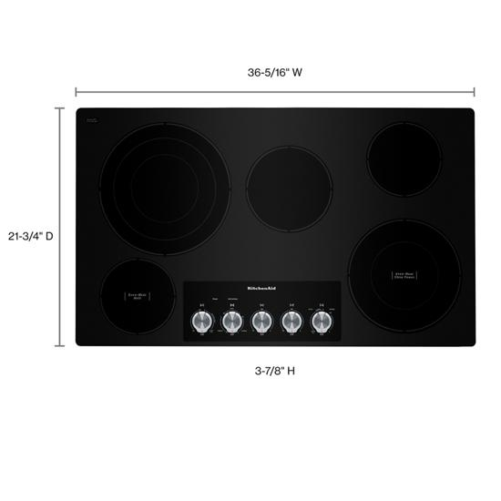 "KitchenAid KCES556HBL 36"" Electric Cooktop with 5 Elements and Knob Controls in Black"
