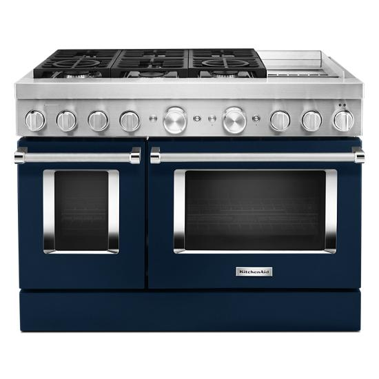 KitchenAid KFDC558JIB 48'' Smart Commercial-Style Dual Fuel Range with Griddle in Ink Blue