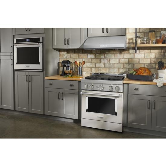 KitchenAid KFGC500JMH 30'' Smart Commercial-Style Gas Range with 4 Burners in Milkshake