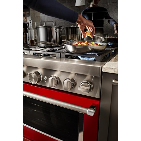 KitchenAid KFDC506JPA 36'' Smart Commercial-Style Dual Fuel Range with 6 Burners in Passion Red