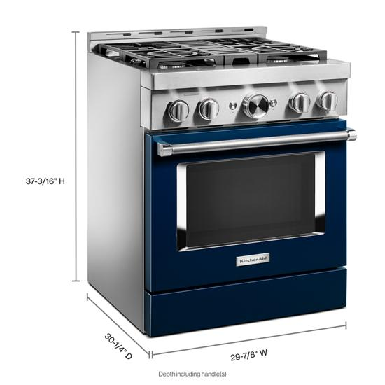 KitchenAid KFGC500JIB 30'' Smart Commercial-Style Gas Range with 4 Burners in Ink Blue