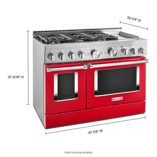 KitchenAid KFGC558JPA 48'' Smart Commercial-Style Gas Range with Griddle in Passion Red