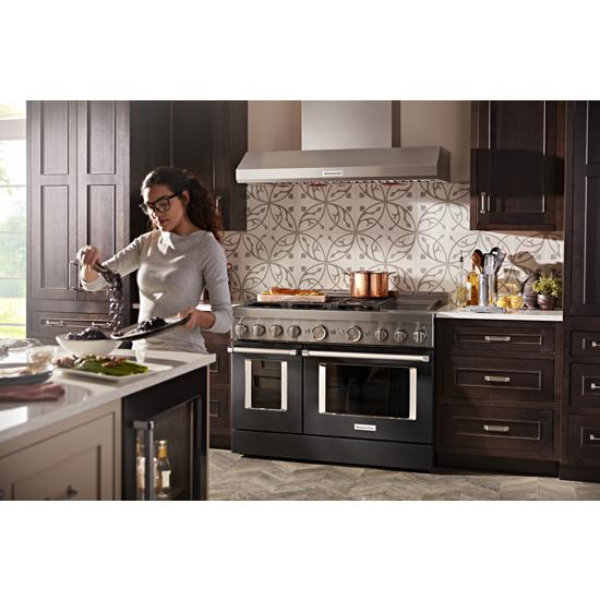 KitchenAid KFGC558JBK 48'' Smart Commercial-Style Gas Range with Griddle in Imperial Black