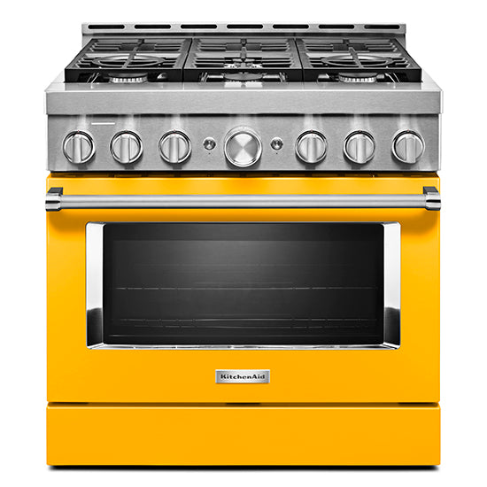 KitchenAid KFGC506JYP 36'' Smart Commercial-Style Gas Range with 6 Burners in Yellow Pepper