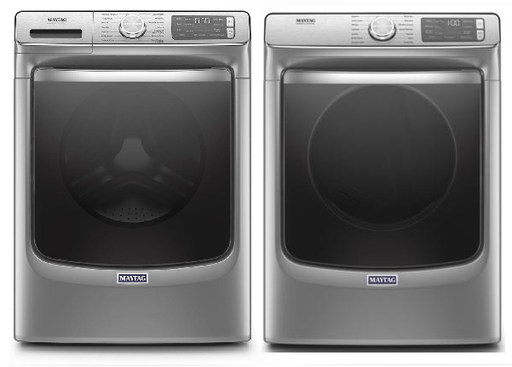 Maytag 5.8 cu.ft Front Load Washer with 7.3 cu.ft Front Load Electric Dryer Laundry Pair in Metallic Slate