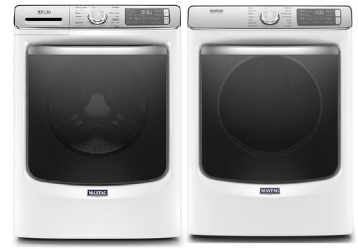 Maytag 5.8 cu.ft Front Load Washer with 7.3 cu.ft Front Load Electric Dryer Laundry Pair in White