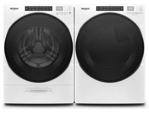 Whirlpool 5.2 cu.ft I.E.C. Closet Depth Front Load Washer with 7.4 cu.ft Front Load Electric Dryer Laundry Pair in White