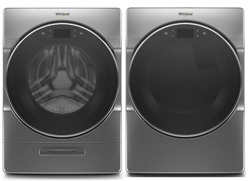 Whirlpool 5.8 cu.ft Front Load Washer with 7.4 cu.ft Front Load Electric Dryer Laundry Pair in Metallic Slate