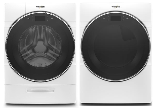 Whirlpool 5.0 cu.ft Smart Front Load Washer with 7.4 cu.ft Smart Front Load Electric Dryer Laundry Pair in White