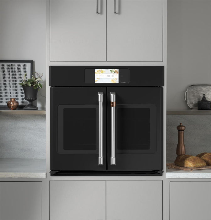 "GE Cafe CTS90FP3ND1 Professional Series 30"" Smart Built-In Convection French-Door Single Wall Oven in Matte Black"