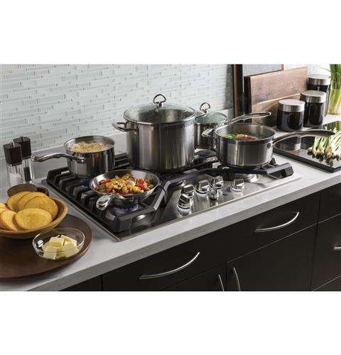 "GE CAFÉ CGP9536SLSS 36"" Built-In Gas Cooktop - Stainless Steel - Cooktop - GE CAFE - Topchoice Electronics"
