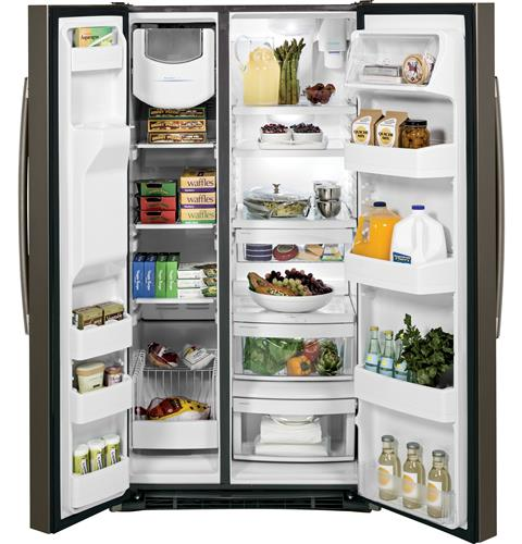 GE® GSS25GMHES 25.3 Cu. Ft. Side-By-Side Refrigerator in Slate - Refrigerator - GE - Topchoice Electronics