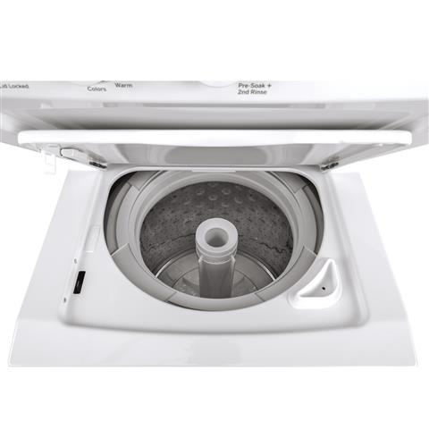 GE GUD24GSSMWW Unitized Spacemaker 2.3 DOE cu. ft. Stainless Steel Washer and 4.4 cu. ft. Gas Dryer - White - Laundry Pair - GE - Topchoice Electronics