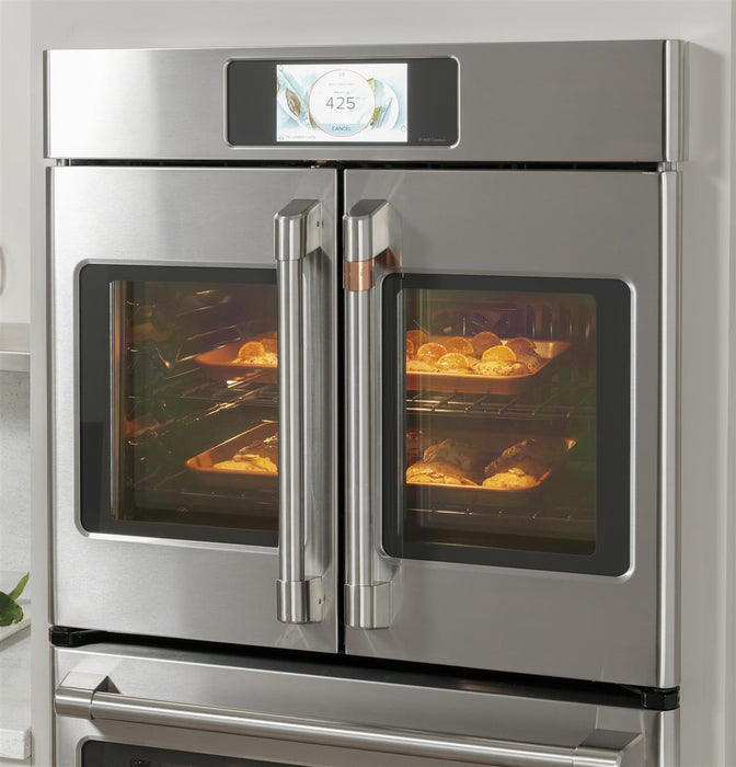 "GE Cafe CTD90FP4NW2 Professional Series 30"" Smart Built-In Convection French-Door Double Wall Oven in Matte White"