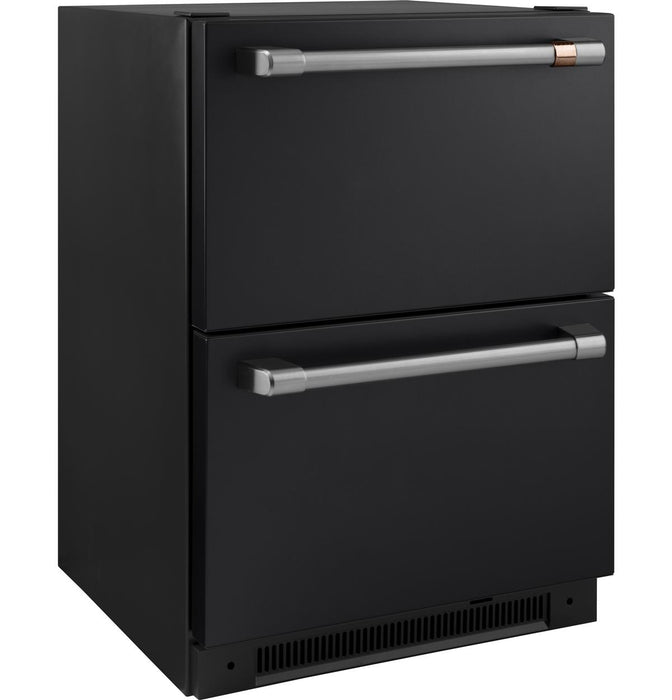 GE Cafe CDE06RP3ND1 5.7 Cu. Ft. Built-In Dual-Drawer Refrigerator in Matte Black