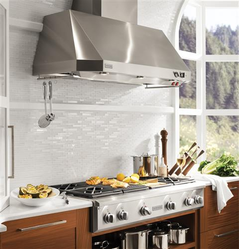 Monogram ZV48TSFSS 48-Inch Professional Tapered-Sided Wall Mount Canopy Range Hood In Stainless Steel