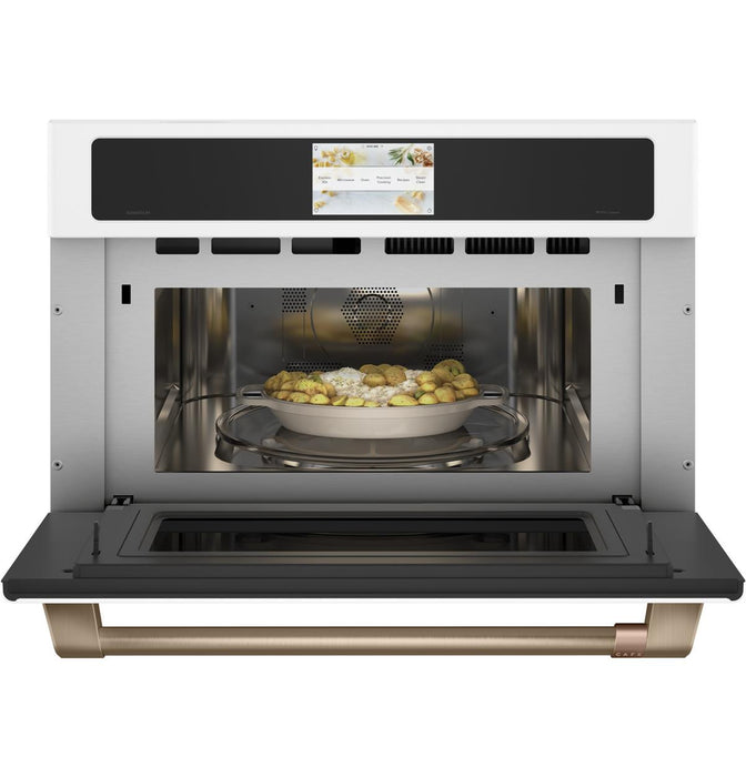 "GE Cafe CSB923P4NW2 30"" Smart Five in One Wall Oven with 240V Advantium Technology in Matte White"