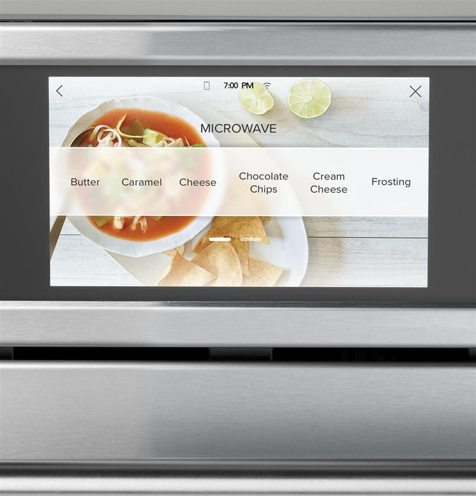 "GE Cafe CSB923P3ND1 30"" Smart Five in One Wall Oven with 240V Advantium Technology in Matte Black"
