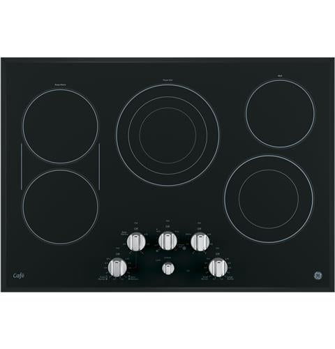 "GE CAFÉ CP9530SJSS 30"" Built-In Knob Control Electric Cooktop - Stainless Steel on Black - Cooktop - GE CAFE - Topchoice Electronics"