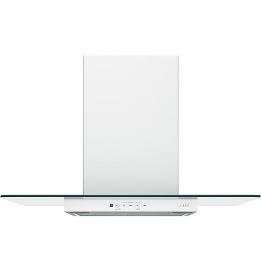 "GE Cafe CVW73014MWM 30"" Wall-Mount Glass Canopy Chimney Hood - Matte White"