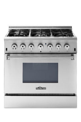 Thor Kitchen 36 Inch Professional Dual Fuel Range in Stainless Steel - HRD3606U with 2 year warranty on parts and labor
