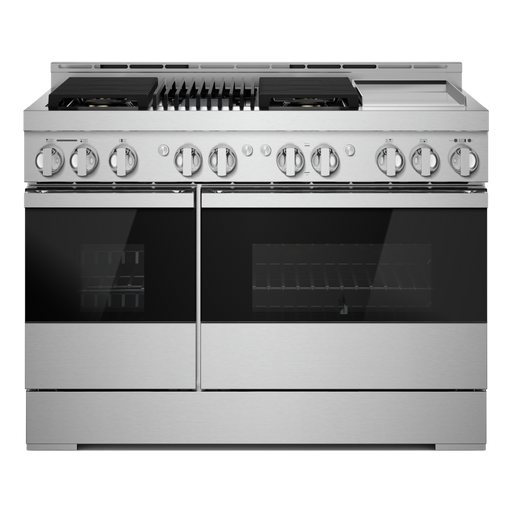 JennAir JGRP748HM 48-Inch NOIR Gas Professional-Style Range with Chrome-Infused Griddle and Infrared Grill In Floating Glass Black