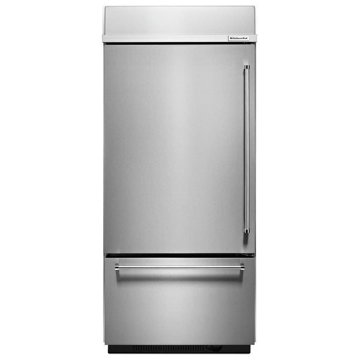 "KitchenAid 20.9 Cu. Ft. 36"" Width Built-In Stainless Bottom Mount Refrigerator with Platinum Interior Design"