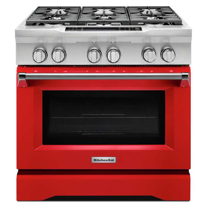 KitchenAid 36-Inch 6-Burner Dual Fuel Freestanding Range, Commercial-Style