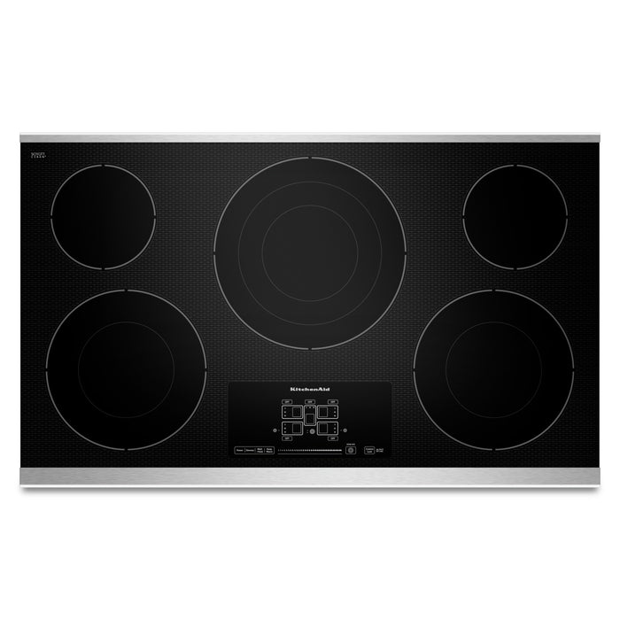 "KitchenAid 36"" Electric Cooktop with 5 Radiant Elements and Touch-Activated Controls"