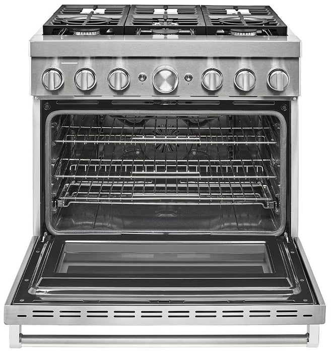 KitchenAid KFDC506JSS 36'' Smart Commercial-Style Dual Fuel Range with 6 Burners in Stainless Steel