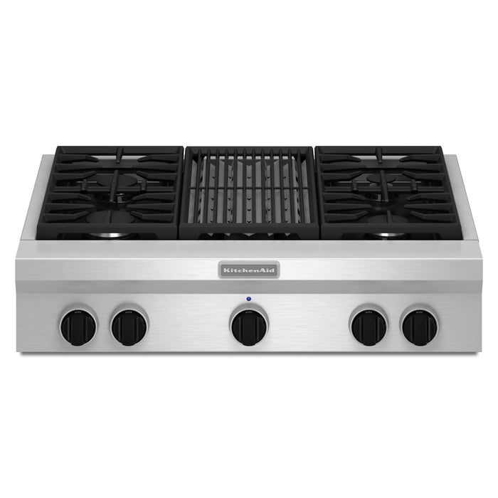 KitchenAid 36-Inch 4-Burner with Grill, Gas Rangetop, Commercial-Style