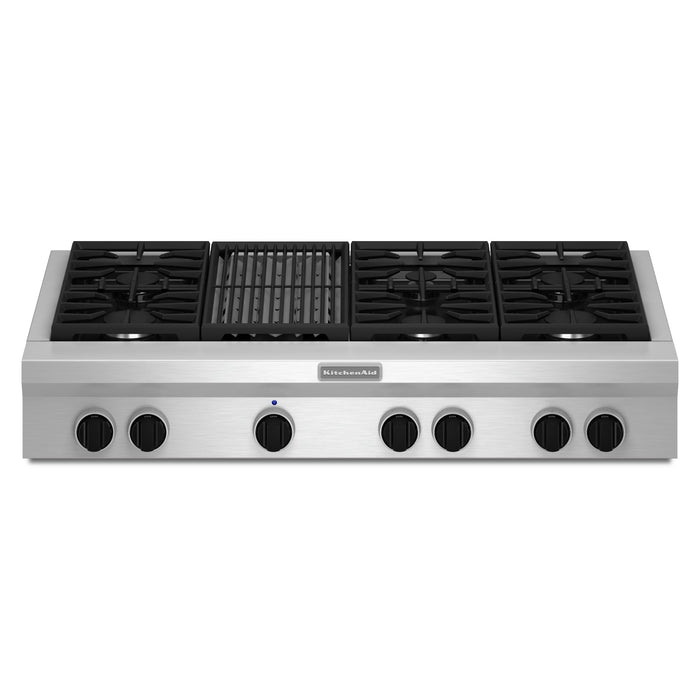 KitchenAid 48-Inch 6-Burner with Grill, Gas Rangetop, Commercial-Style