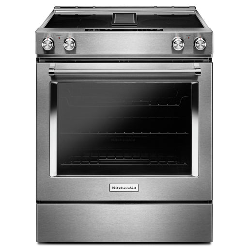 KitchenAid 30-Inch 4-Element Electric Downdraft Front Control Range