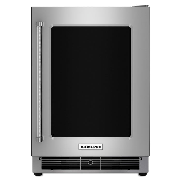 "KitchenAid24"" Stainless Steel Undercounter Refrigerator with Metal-Front Glass Shelves"